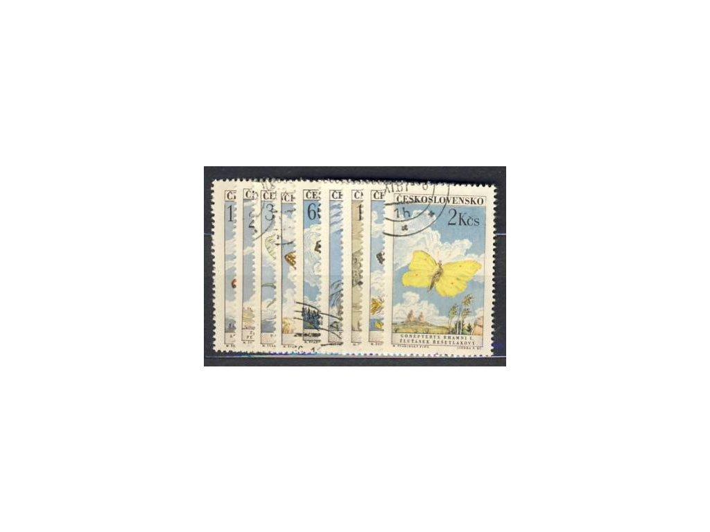1961, 15h-2Kčs série Motýli, Nr.1217-25, razítko