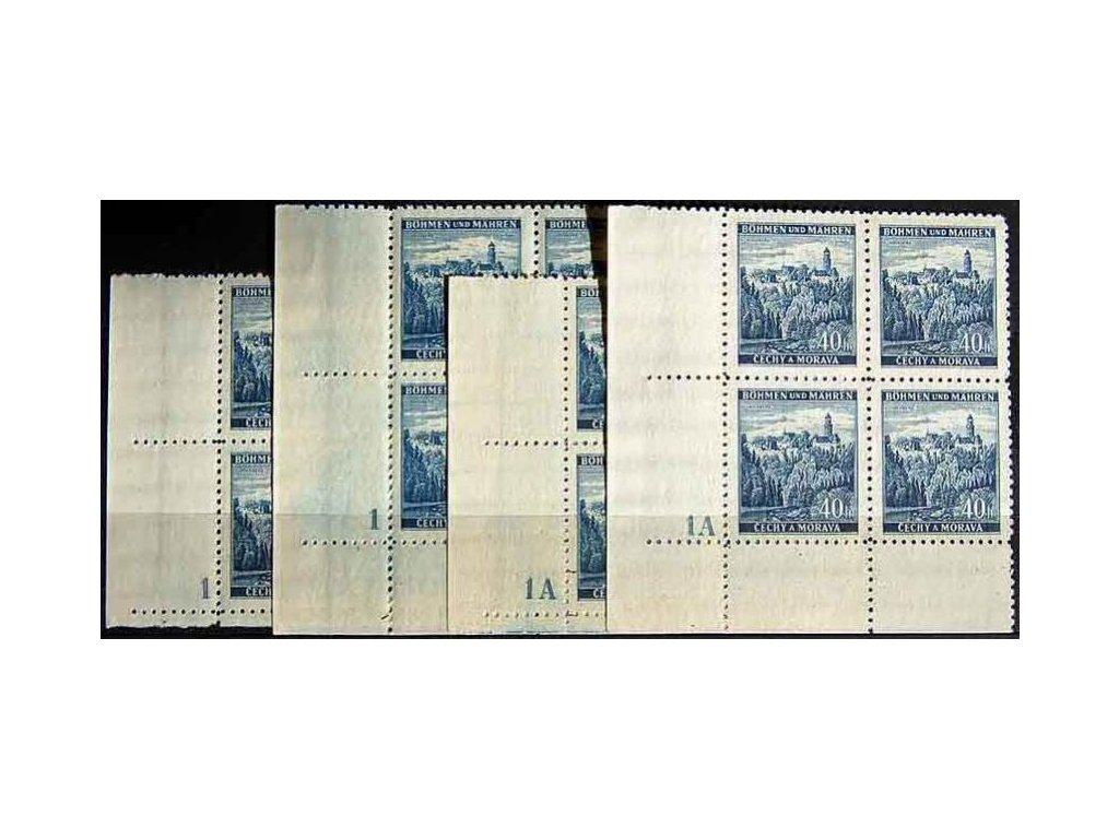 1939, 40h Zvíkov, rohové čtyřbloky s DČ1,1