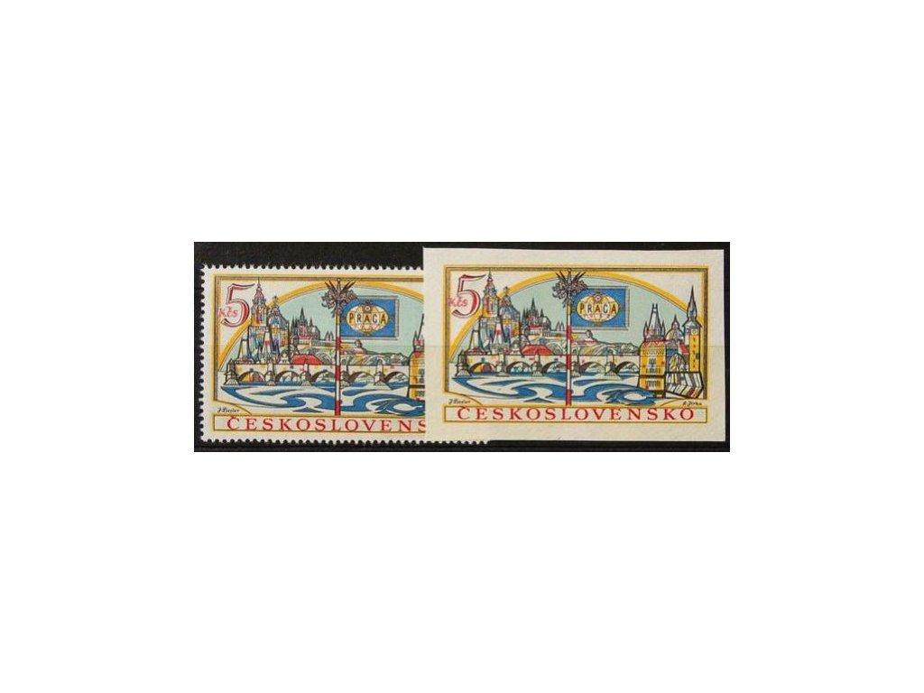 1962, 5Kčs PRAGA 1962, zoubkovaná a nezoubkovaná známka z aršíku, Nr.1268A,B, **