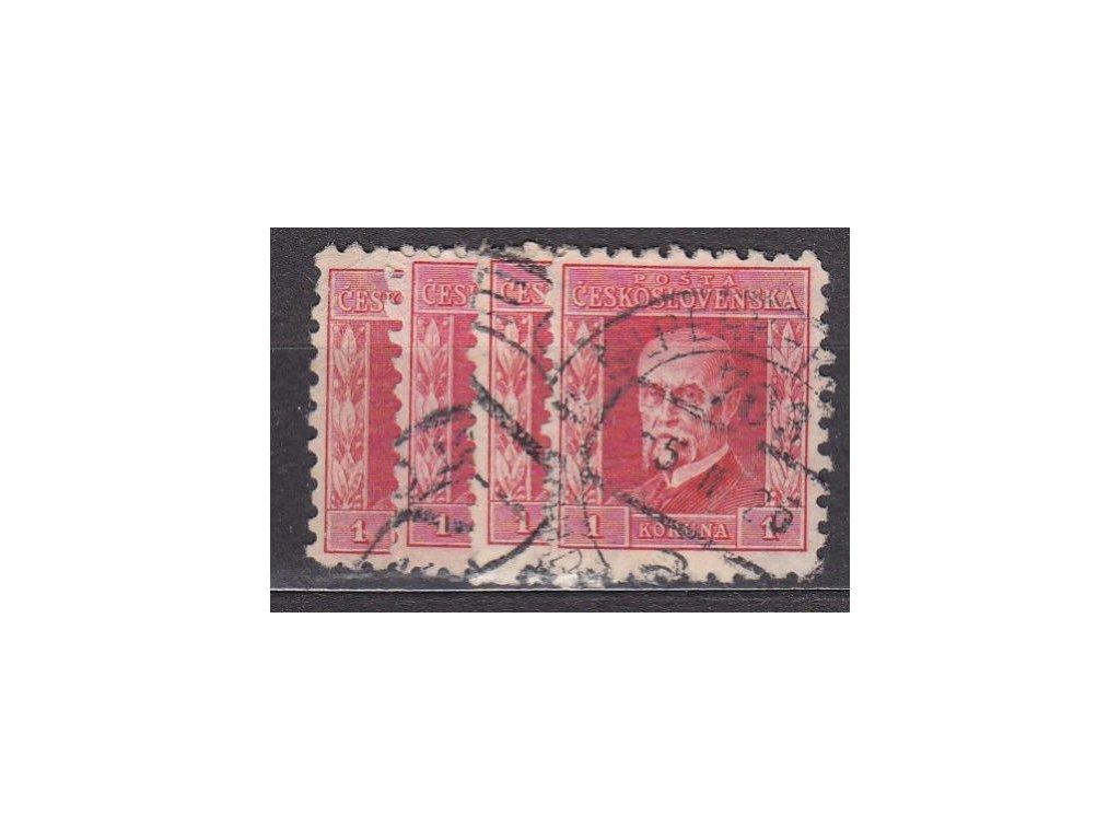 1Kč červená, IV.typ, pr.5-8, Nr.199, razítkované