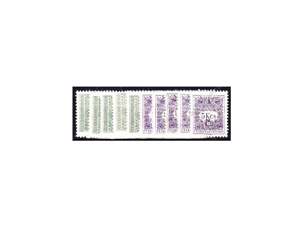 1963, 5h-5Kčs Doplatní II, rámcové zoubkování 11 1/4:11 3/4, Nr.D79-91B, 10hodnot - kompletn