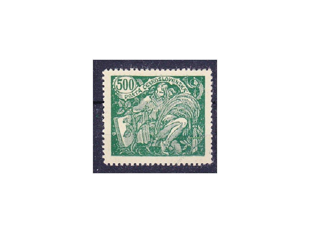 500h zelená, zoubk. ZT na nažloutlém papíru, Řz.13 3/4, Nr.168, bez lepu