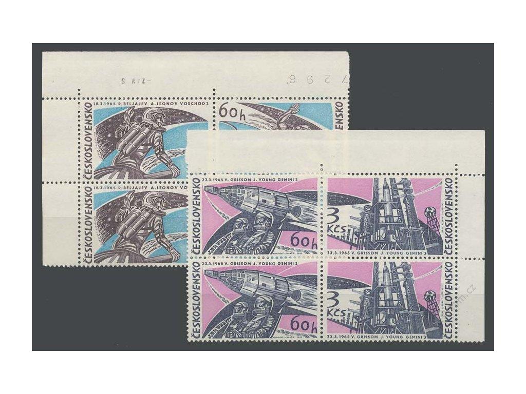 1965, 60h-3Kčs Výzkum vesmíru, roh. 4bloky, **