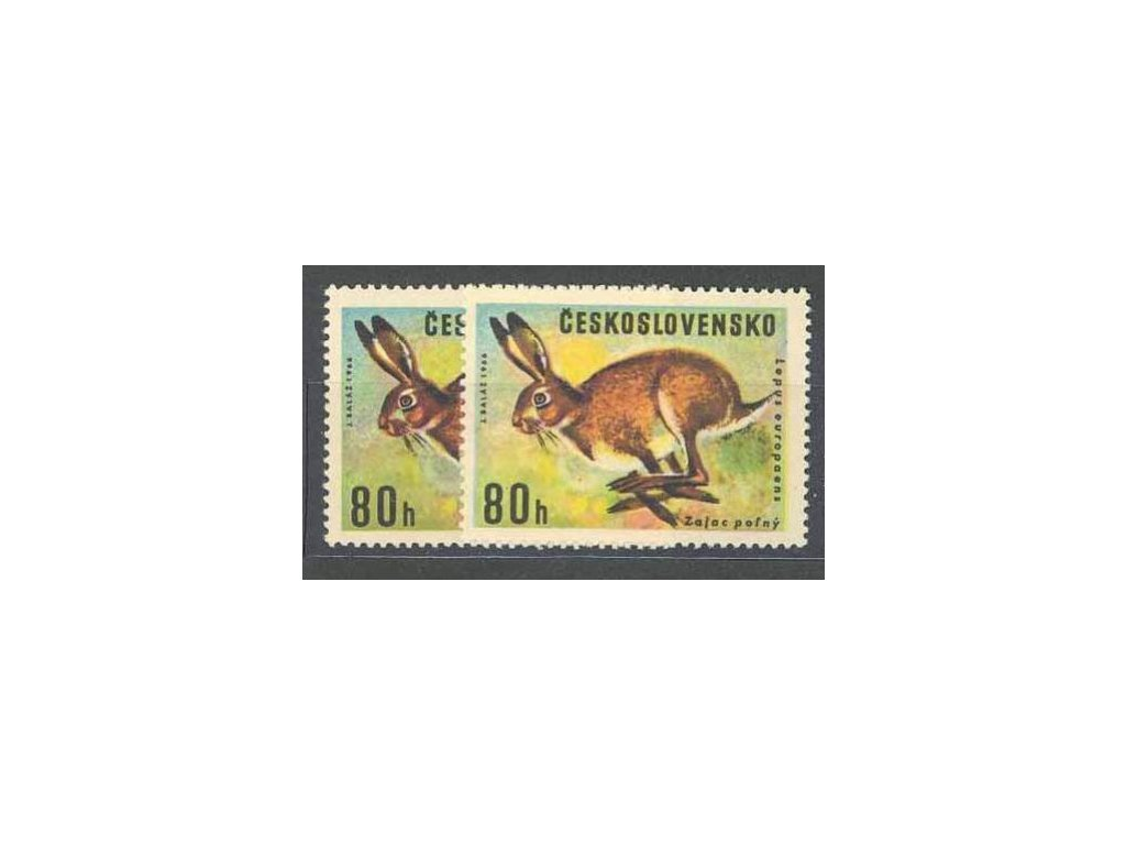 1966, 80h Zajíc polní, typ I a II, Nr.1570I,II, **