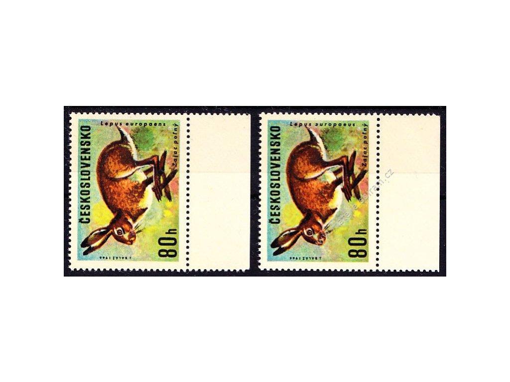 1966, 80h Zajíc, I a II.typ, krajové kusy,  Nr.1570, **