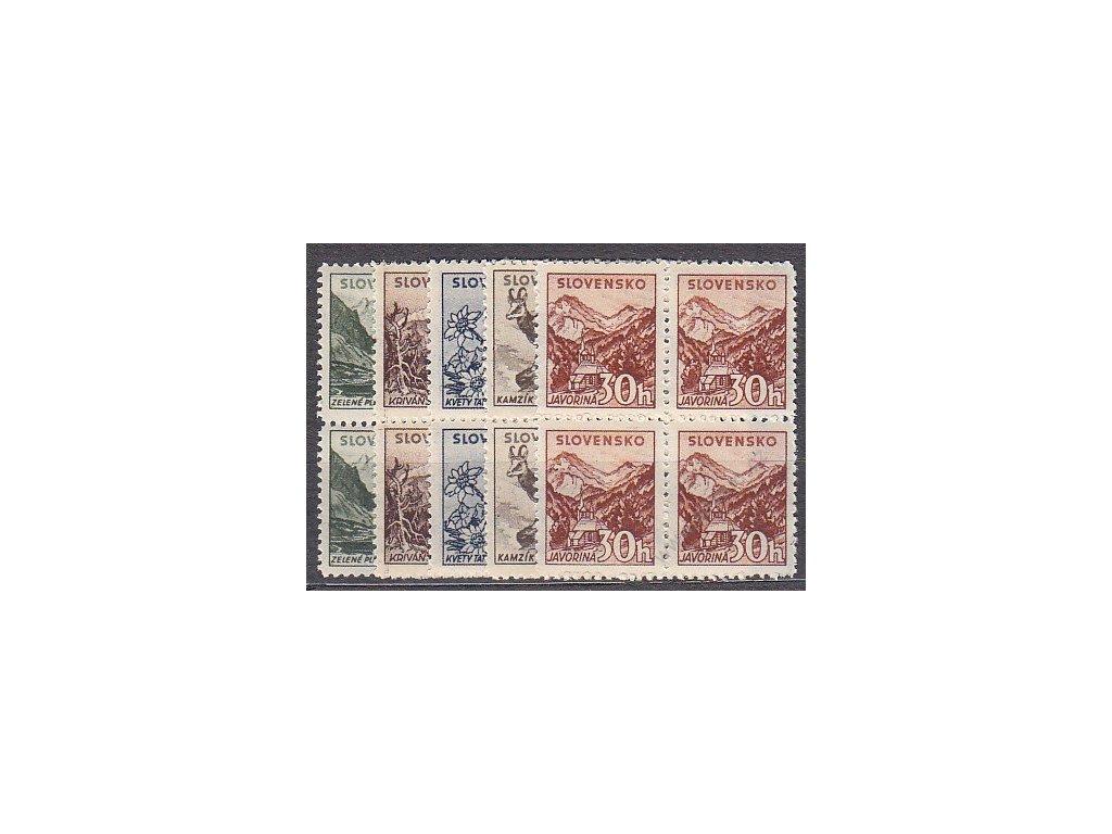 1940, 5-30h Tatranské, s průsvitkou, série, 4bloky, Nr.47-51Y, **, ilustrační foto