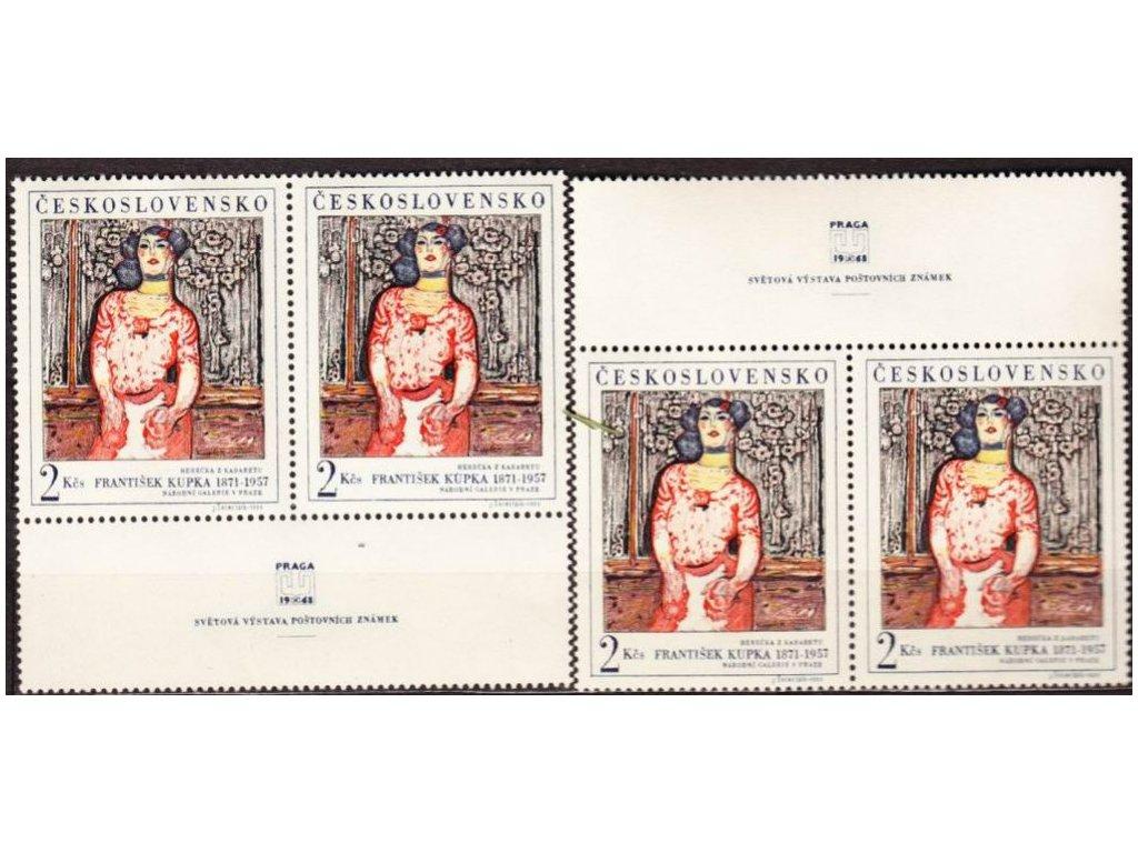 1968, 2Kčs Fr.Kupka, horní a dolní kupon, Nr.1686, **