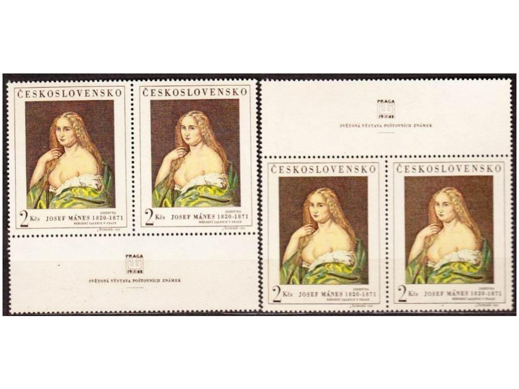1968, 2Kčs J.Mánes, horní a dolní kupon, Nr.1692, **