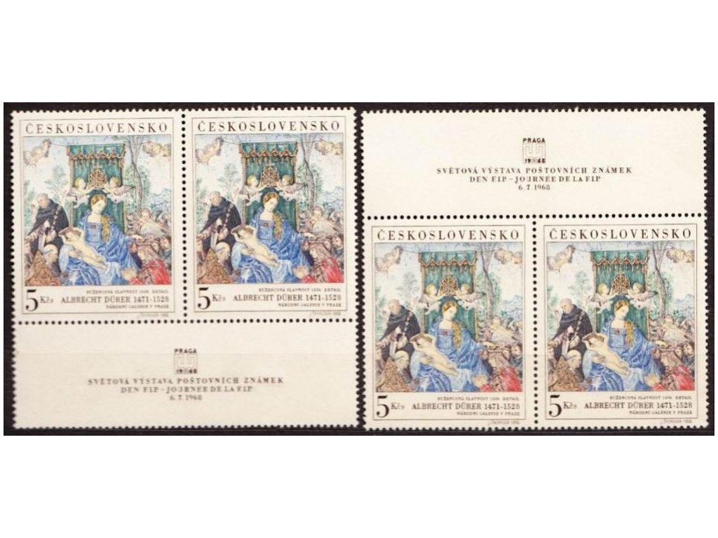 1968, 5Kčs FIP, horní a dolní kupon, Nr.1695, **