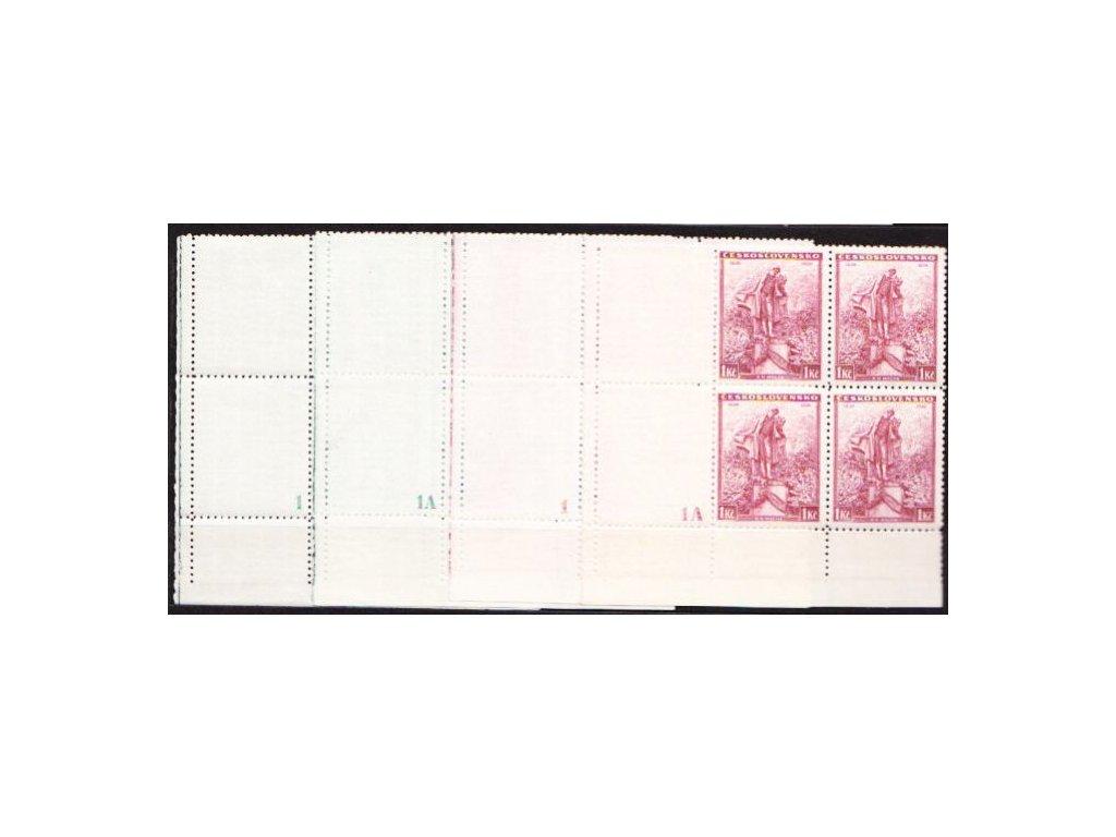 1936, 50h-1Kč Mácha, roh.4bloky s kupony a DČ 1,1A, 4 ks, Nr.298-9, **