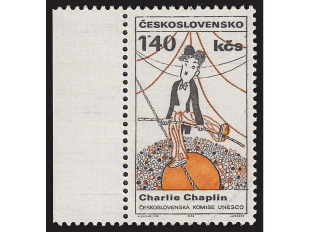 1968, 1.40Kčs Chaplin, DO - přetažená šňůra, **