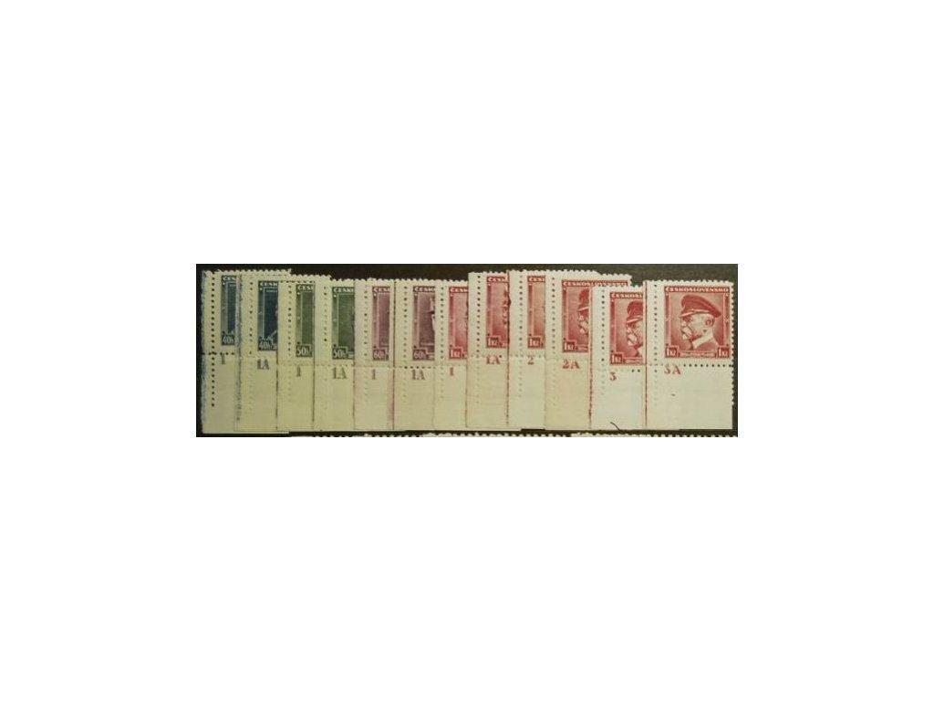 1935, 40h-1Kč série Osobnosti, roh. ks s DČ, kompletní sestava DČ, Nr.300-3, **/*