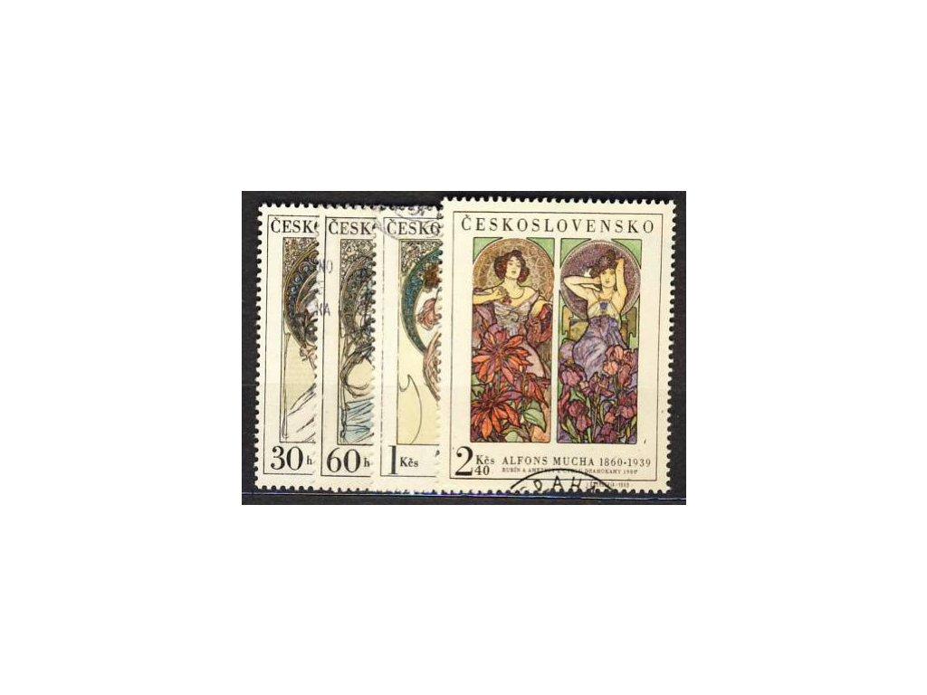 1969, 30h-2Kčs série Mucha, Nr.1774-7, razítkované