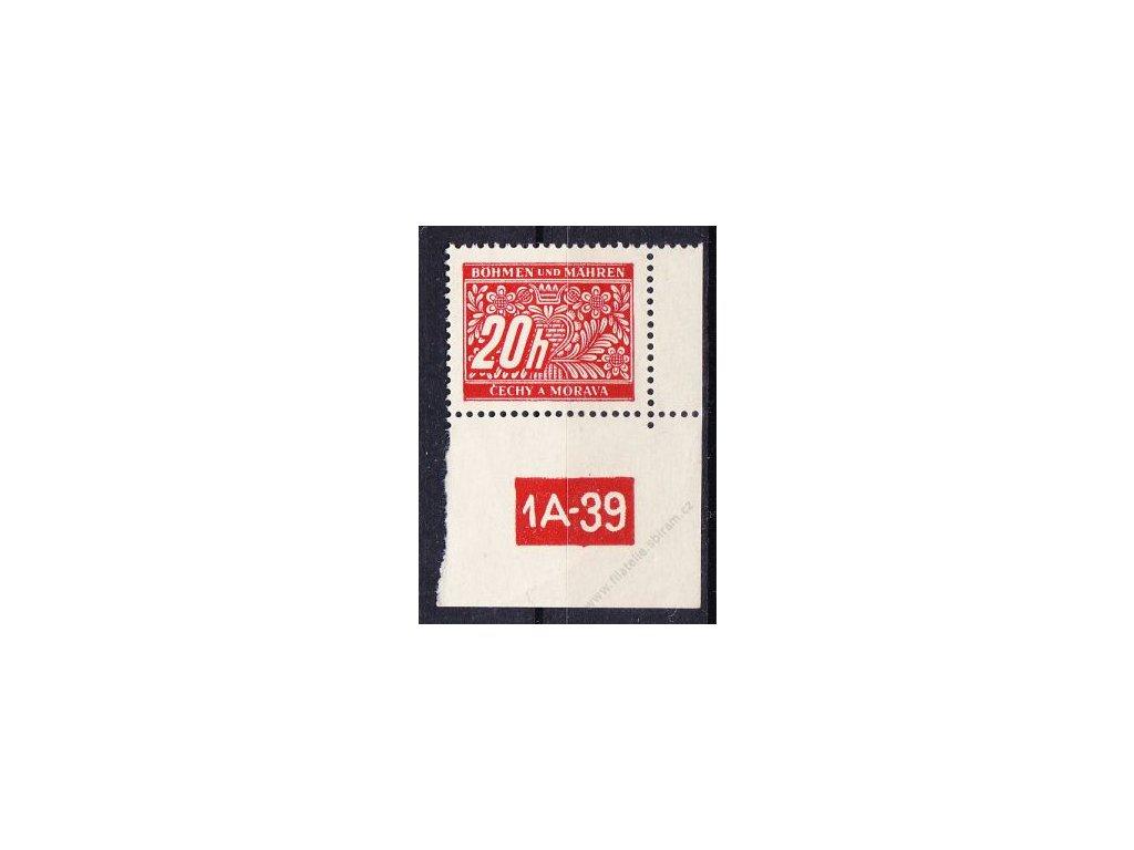 20h červená, pravý roh. kus s DČ 1A-39, varianta X, Nr.DL3, **