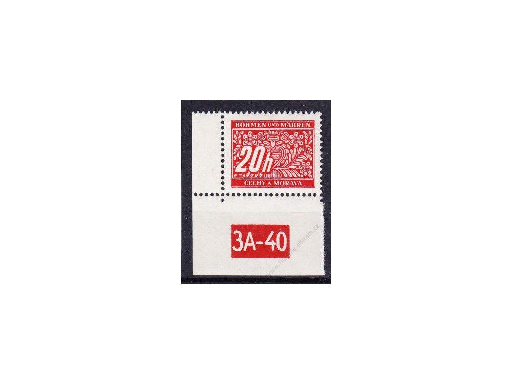 20h červená, levý roh. kus s DČ 3A-40, varianta X, Nr.DL3, **