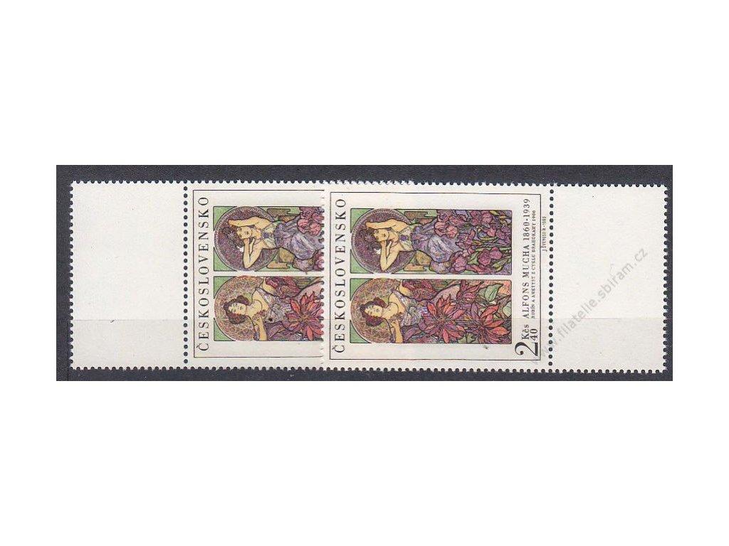 1969, 2Kčs Mucha, horní a dolní kupon, Nr.1777, **
