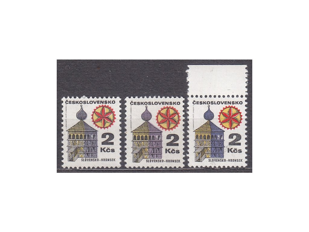 2Kčs Lidová architektura, 3 ks - odstíny barev, Nr.1877a,b,c, **
