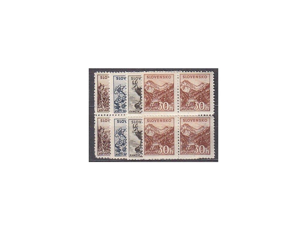 1943, 10-30h Tatranské, bez průsvitky, 4bloky, Nr.48-51X, **, ilustrační foto