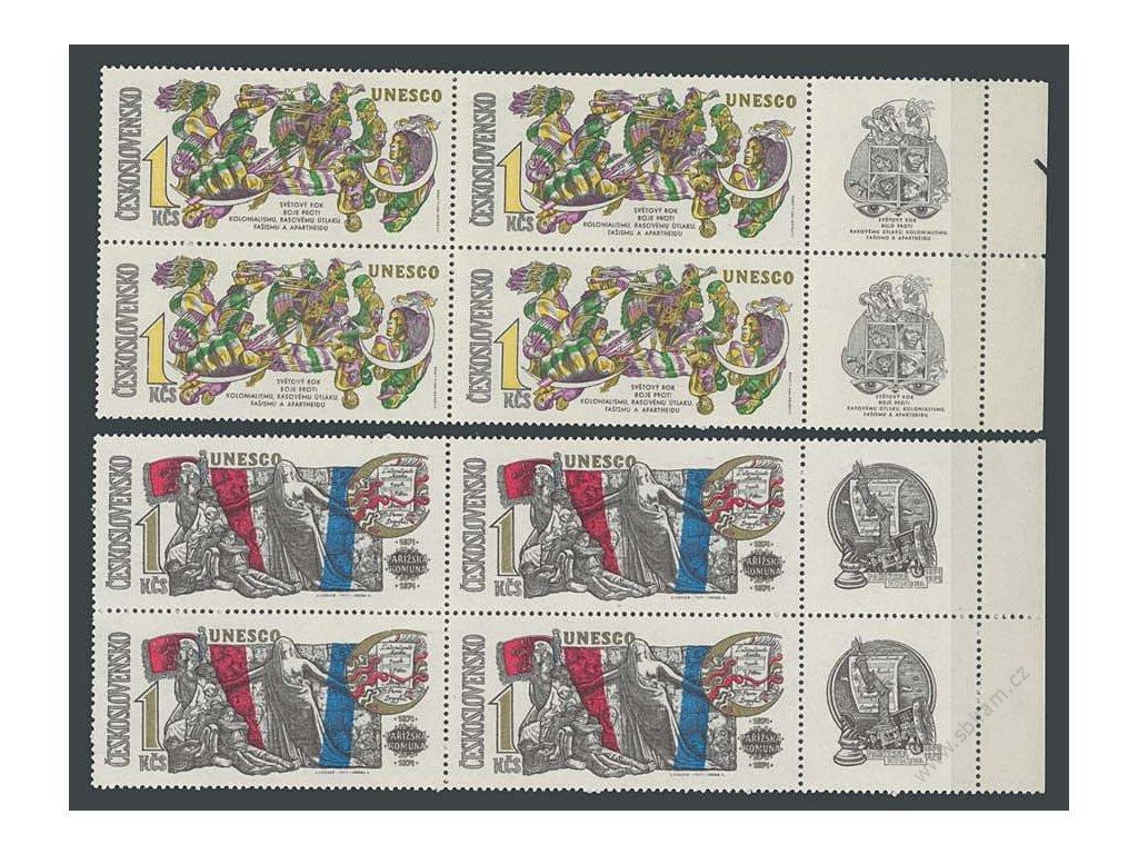 1971, 1Kčs Výročí UNESCO, 4bloky s kupony, **