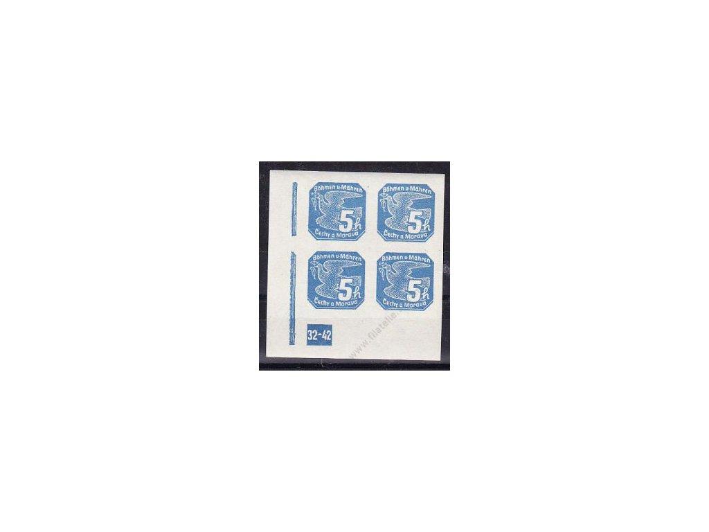 5h modrá, levý roh. 4blok s DČ 32-42, Nr.NV2, **