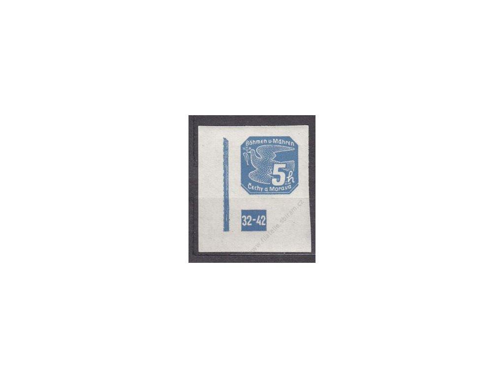 5h modrá, levý roh. kus s DČ 32-42, Nr.NV2, **