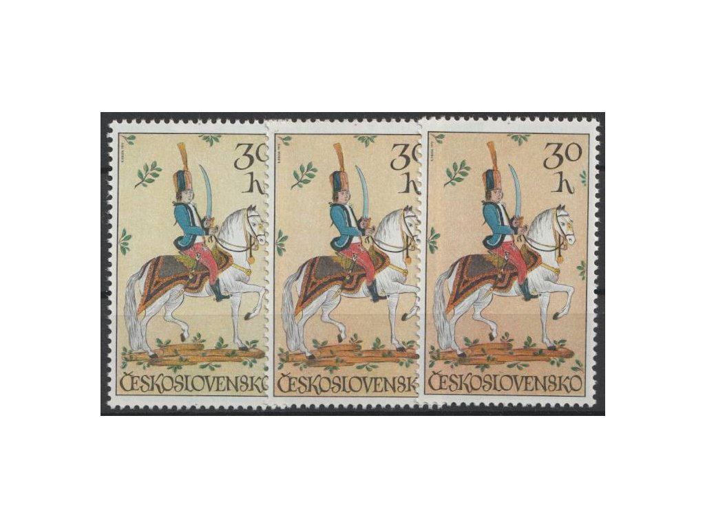 1972, 30h Jezdectví, 3 ks - odstíny barev, Nr.1985a,b,c, **
