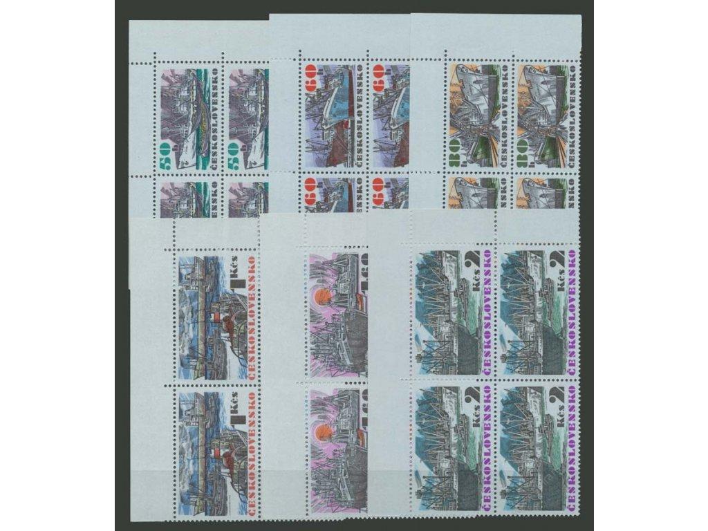 1972, 50h-2Kčs Lodě, roh. 4bloky, Nr.1979-84, **
