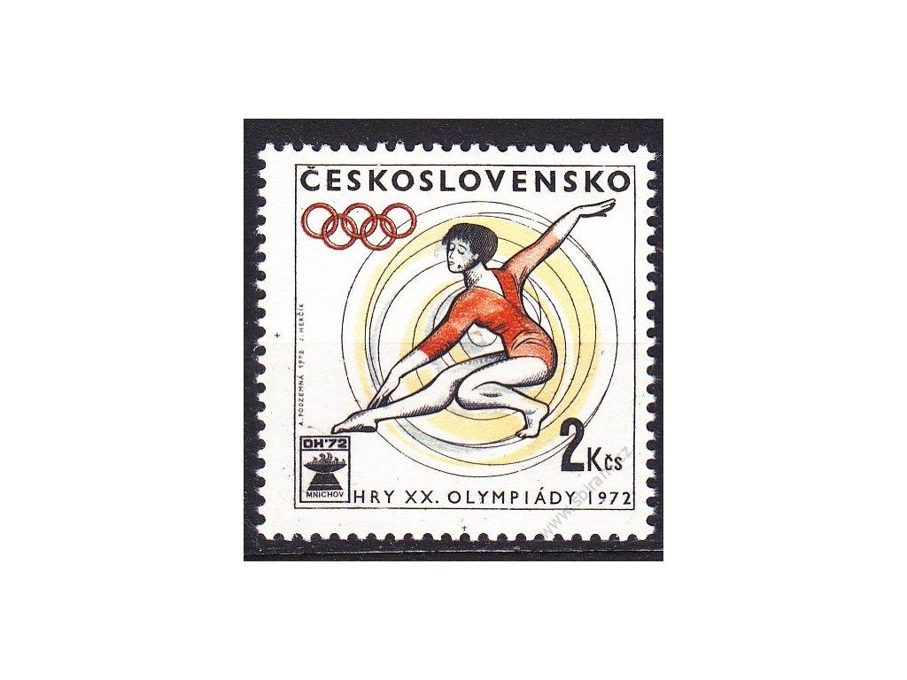 1972, 2Kčs Sport, VV - posun šedívé barvy, Nr.1958, **