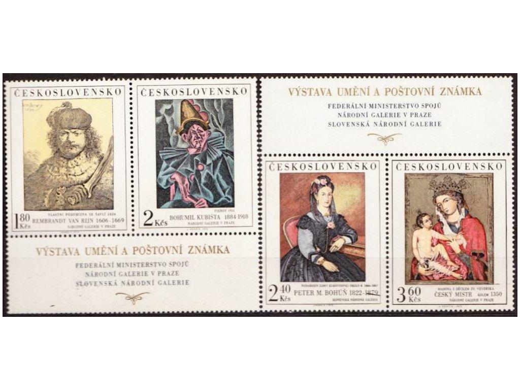 1973, 1.80-3.60Kčs Umění, horní a dolní kupon, Nr.2056-9, **