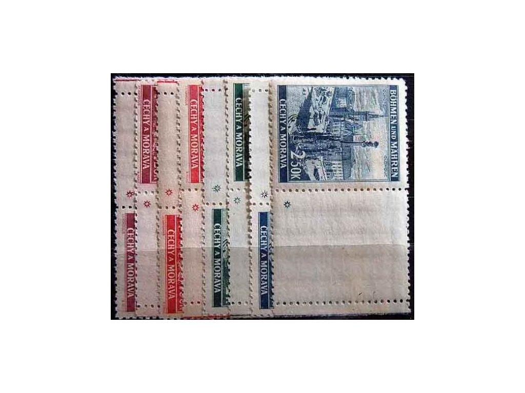 1939, 1.20-2.50K Krajinky, kupony, hvězdička,  L+P, **