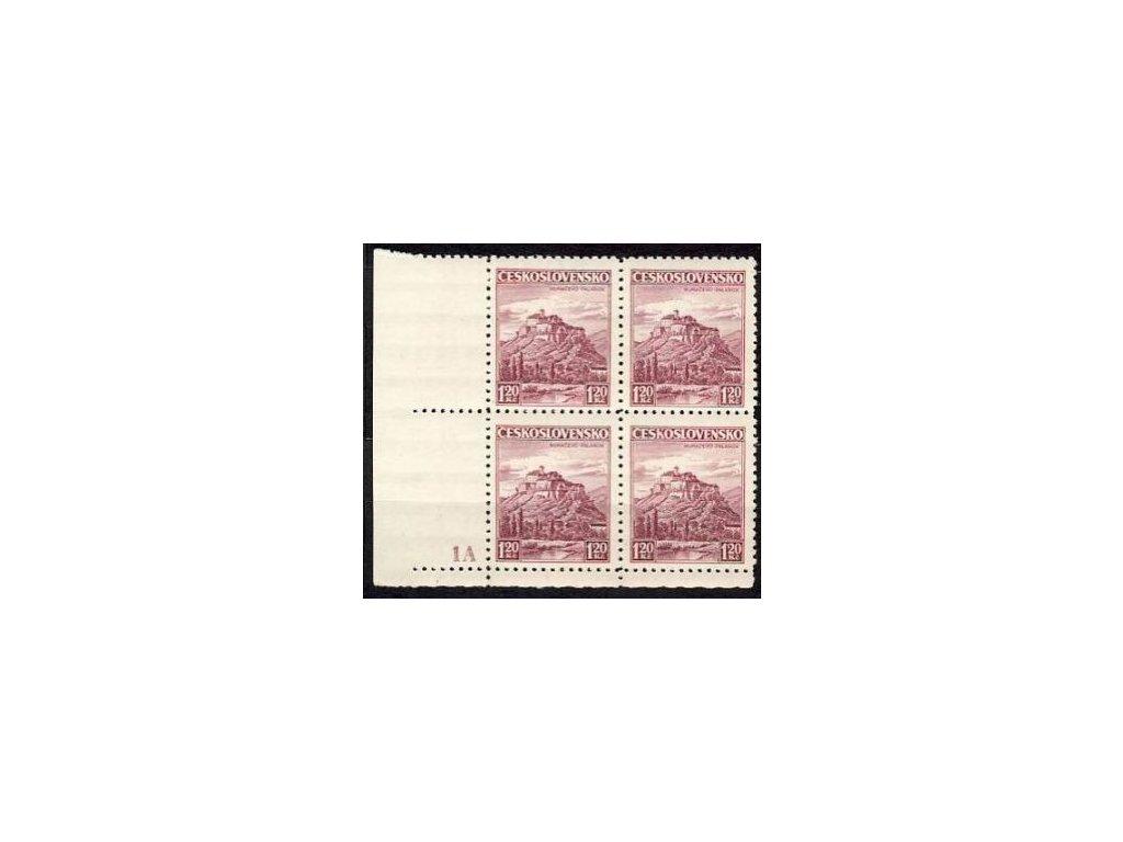 1936, 1.20Kč Krajinky, roh 4blok s DČ 1A, ZP 92 dvojitá moletáž písmen KO, Nr.304, **