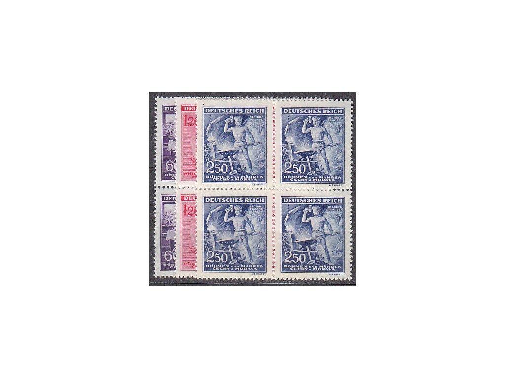 1943, 60h-2.50K Wagner, 4bloky, Nr.108-110, **