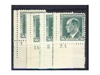 1937, 50h Beneš, 4 ks s DČ 1,1A,2,2A, Nr.314, **/*