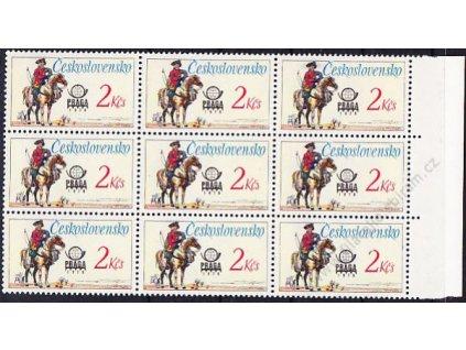 1977, 2Kčs Postilión, kraj. 9blok se 4 DV na ZP 18,20,24 a 30, (Pof.min.590,-), Nr.2555, **