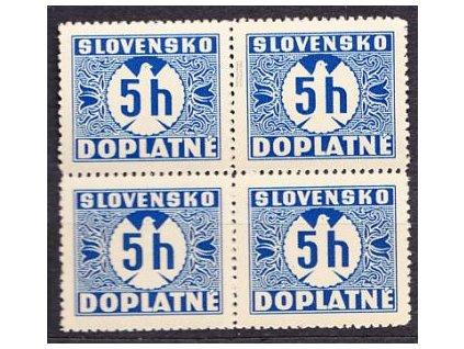A- 1939, 5h modrá, 4blok, svislý rastr, Nr.DL1, **