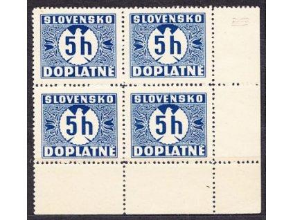 A- 1939, 5h modrá, pravý dolní roh. 4blok, vodorovný rastr, Nr.D1, **