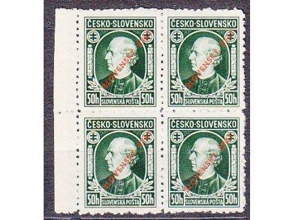 1939, 50h Hlinka, Řz.10 1/2, kraj. 4blok, Nr.23, bez lepu, horší jakost