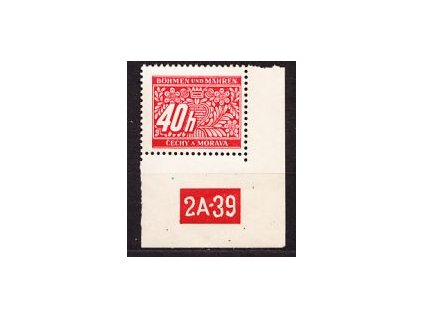 40h červená, roh. kus s DČ 2A-39, varianta Y, Nr.DL5, **