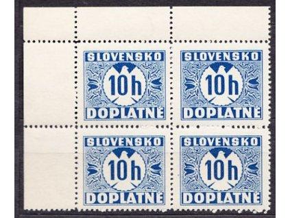 A- 1939, 10h modrá, hladký lep, levý horní rohový 4blok, Nr.D2, **