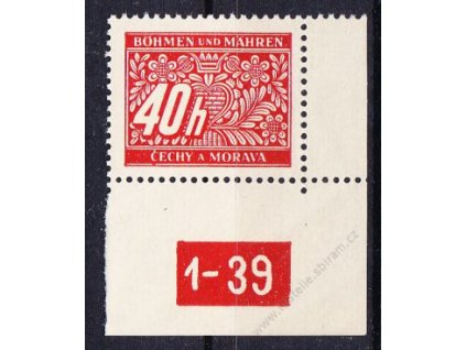 40h červená, pravý roh. kus s DČ1-39, varianta X, Nr.DL5, **