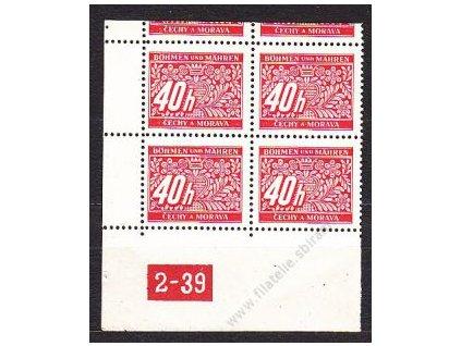 40h červená, levý roh. 4blok s DČ 2-39, var.X, **/*