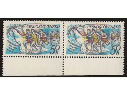 1980, 50h Maraton, VV - modrá skvrna pod 1980, 2páska, **