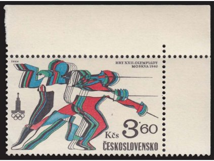 1980, 3.60Kčs OH Moskva, VV - čárka nad kolenem, Nr.2421, ** , dv roh