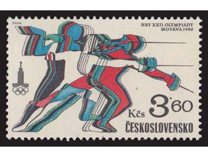 1980, 3.60Kčs OH Moskva, VV - čárka nad kolenem, Nr.2421, **