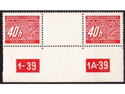 A-40h červená, 2známkové meziarší s DČ 1-39 1A-39, Nr.DL5, **