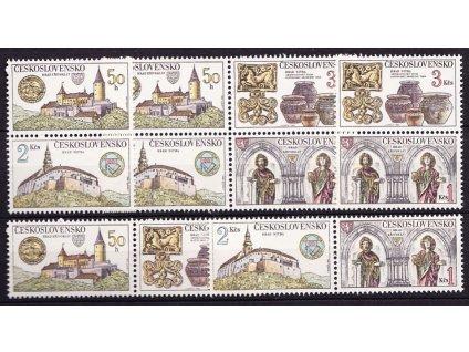 1982, 50h-3Kčs Hrady a zámky, varianty spojek, **