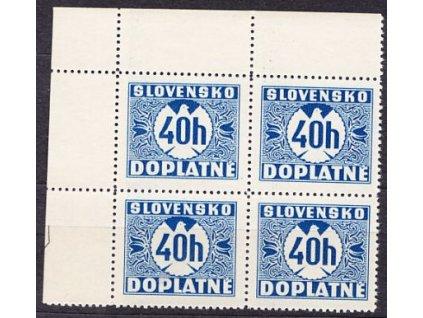 1939, 40h modrá, hladký lep, 4blok, Nr.D5, **