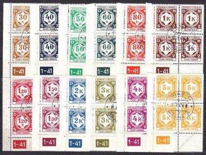 1941, 30h-5K série, levé roh. 4bloky s DČ 1-41, Nr.SL1-12, razítkované