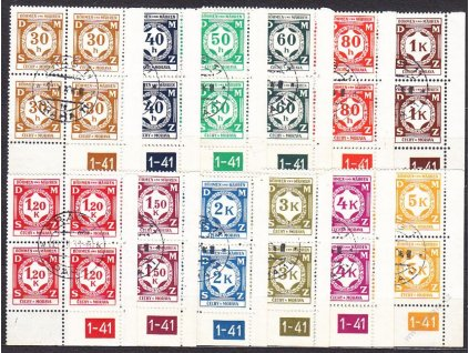 1941, 30h-5K série, pravé roh. 4bloky s DČ 1-41, Nr.SL1-12, razítkované