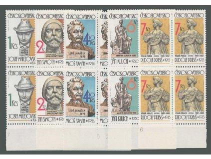 1982, 1-7Kčs Sochařství, 4bloky, Nr.2563-67, **